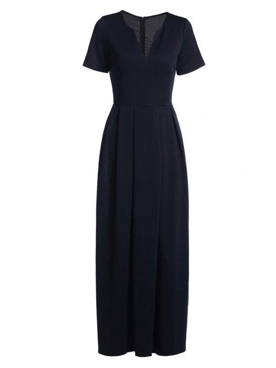 Vestido Maxi de manga curta de manga curta - Azul Escuro L