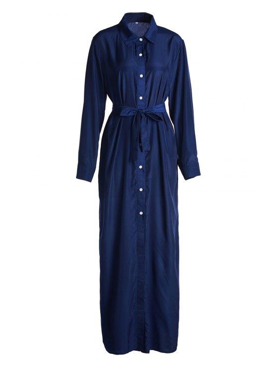 outfit Blue Shirt Neck Long Sleeve Maxi Dress - BLUE XL
