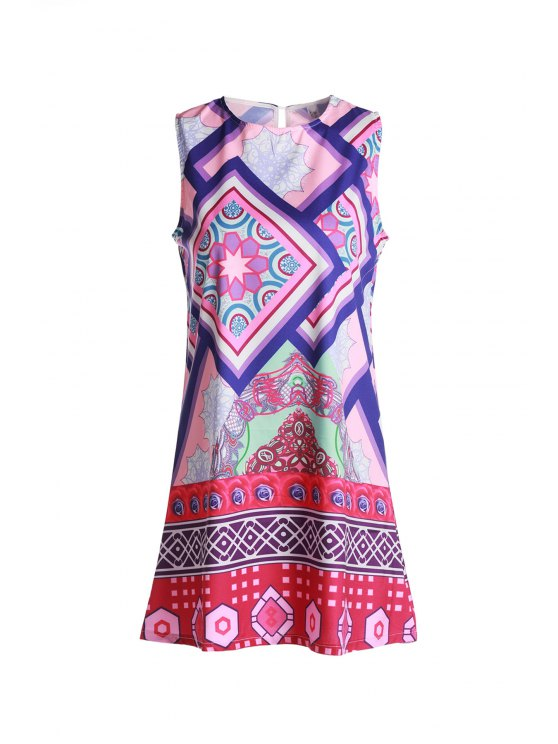 ladies Geometric Print Round Collar Sundress - PURPLE M