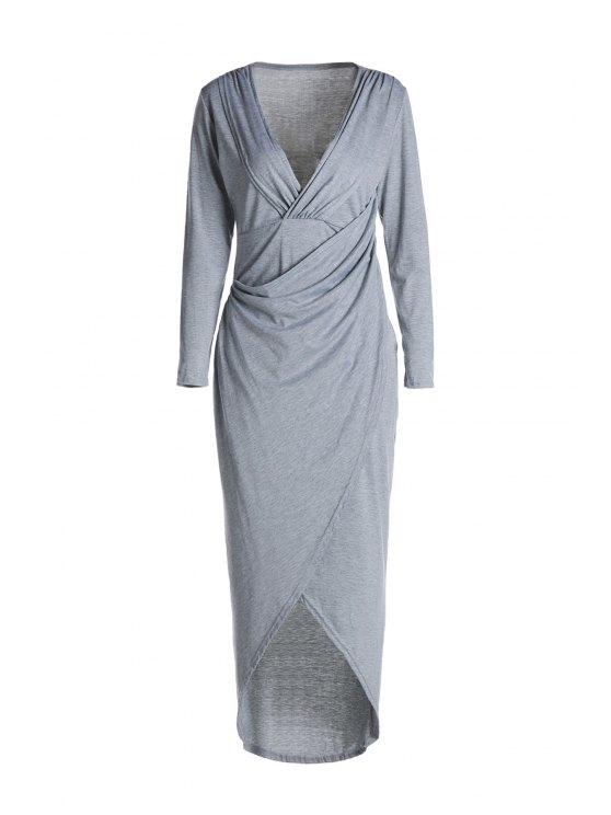 Plunging cuello Cruz alta Split vestido de manga larga - Gris Claro S