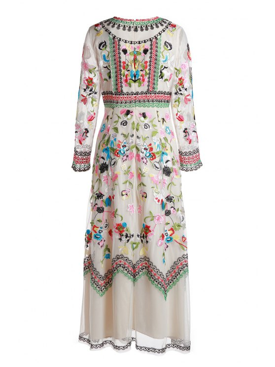 best Floral Embrodery Evening Dress - OFF-WHITE S