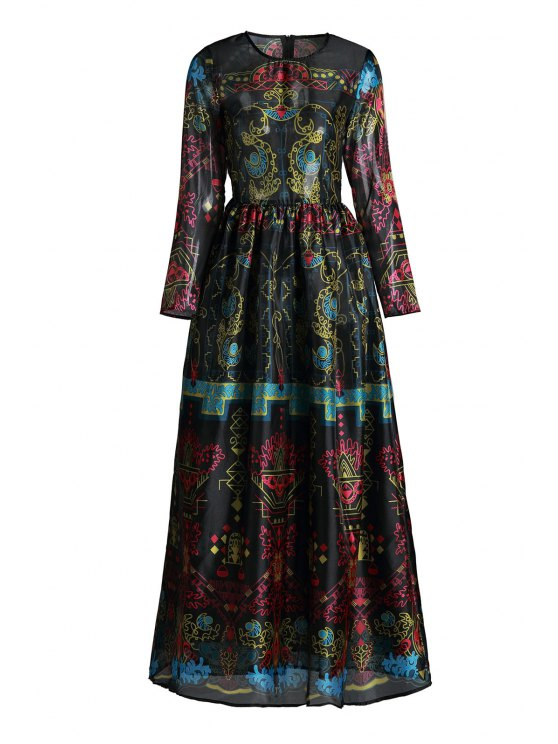 new Colorful Vintage Print Maxi Voile Dress - BLACK XL