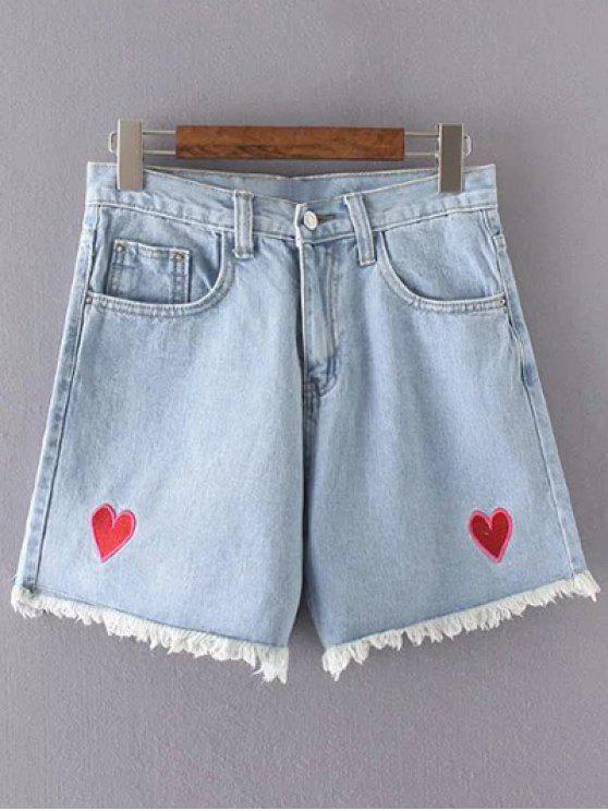 Pantalones cortos de talle alto Corazón bordado del dril de algodón - Azul Claro M