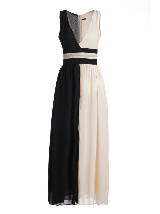 trendy Plunging Neck White Black Splicing Dress - BLACK L