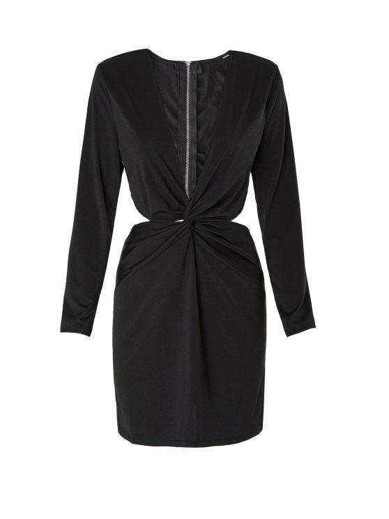 lady Long Sleeve Front Twist Cut Out Club Dress - BLACK S