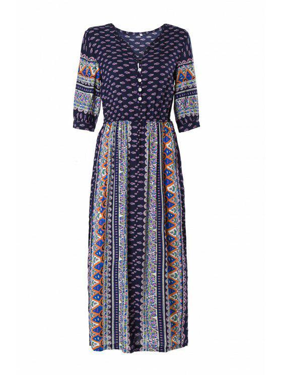 trendy Half Sleeve High Slit Tribal Pattern Midi Dress - PURPLISH BLUE M