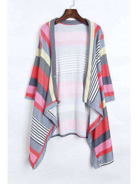 trendy Open Front 3/4 Sleeve Striped Thin Coat - RED L