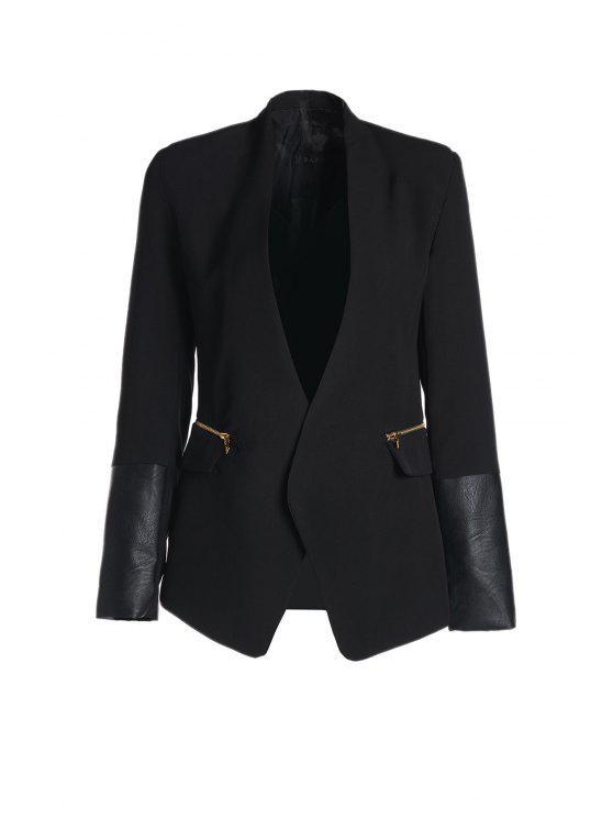 unique Shawl Collar Faux Leather Splicing Blazer - BLACK S