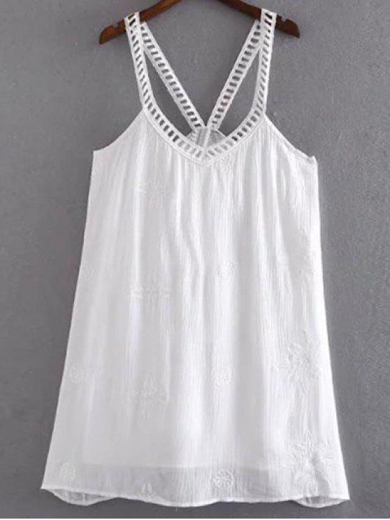 Floral bordado Vestido de tirantes Cami - Blanco L