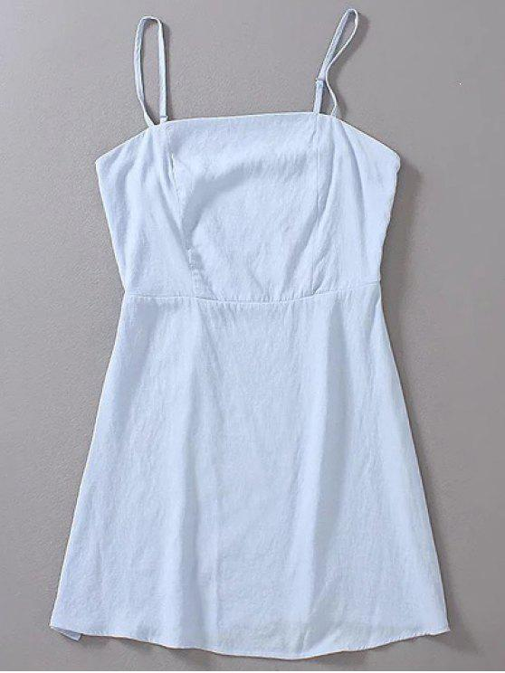 3d65a6e5617 31% OFF  2019 Pure Color Cami High Waisted Mini Dress In LIGHT BLUE ...