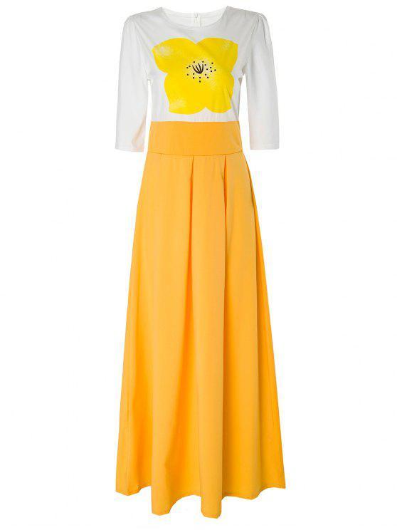 فستان الأصفر الزهور قصيرة الأكمام ماكسي - الأصفر S