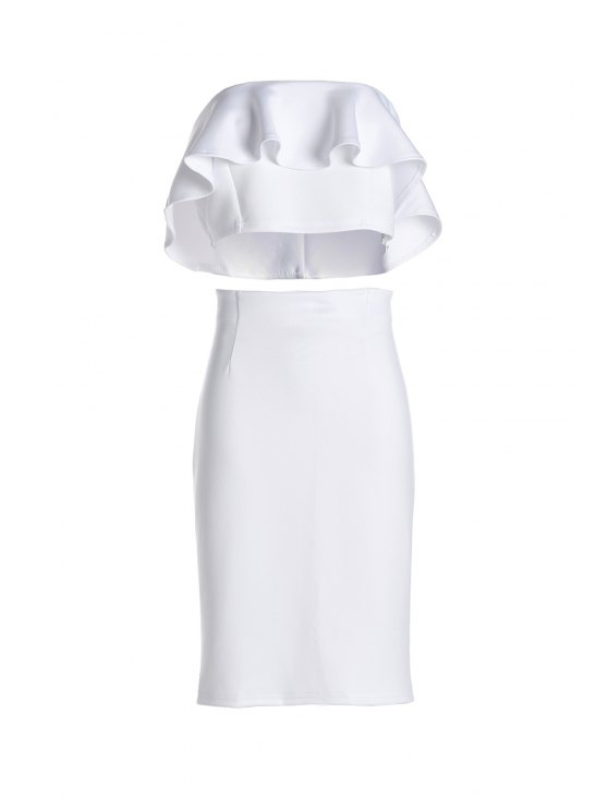 outfits Ruffled Tube Top + High-Waisted Pencil Skirt Twinset - WHITE ONE SIZE(FIT SIZE XS TO M)