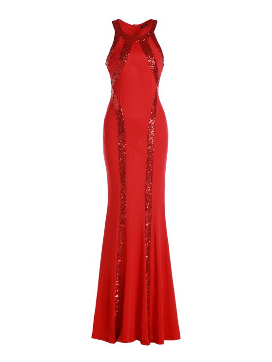 new Sequined Mermaid Prom Dress - RED ONE SIZE(FIT SIZE XS TO M)