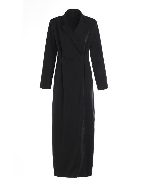 sale Black Lapel Long Sleeve Maxi Coat - BLACK S