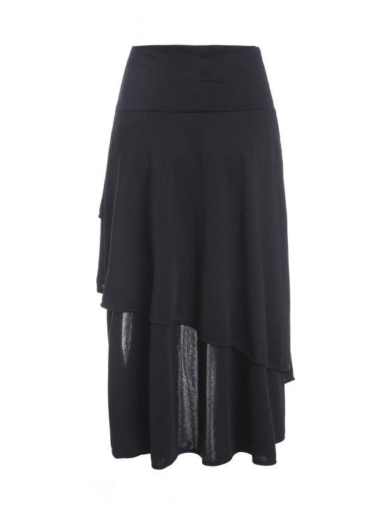 fancy Gothic Lace-Up High-Waist A-Line Skirt - BLACK S