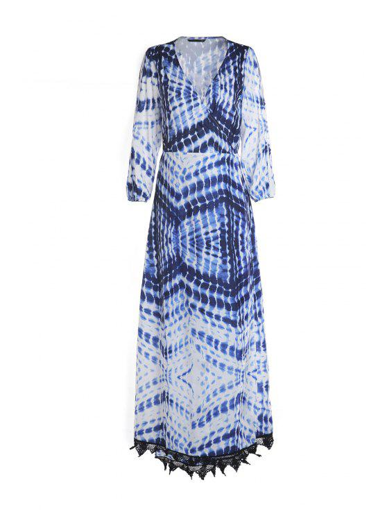 shop Dot and Line Print V Neck 3/4 Sleeve Maxi Dress - BLUE AND WHITE M