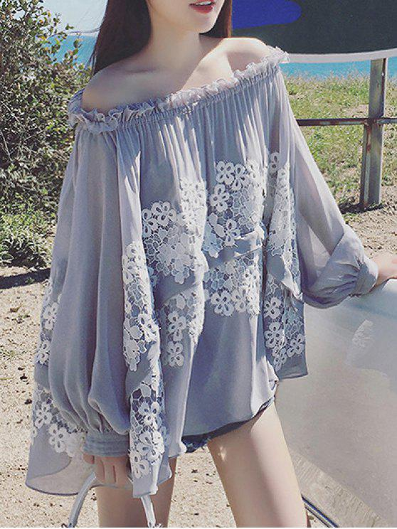 fashion Lace Spliced Off The Shoulder Long Sleeve Blouse - GRAY S