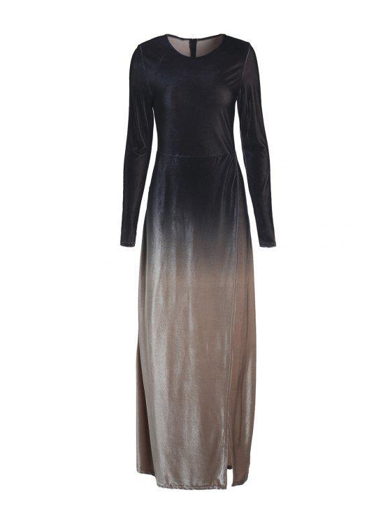 ladies Long Sleeves Side Slit Gradient Color Dress - BLACK S