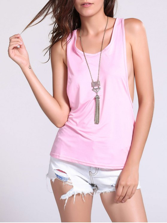 latest Dropped Armhole Tank Top - SHALLOW PINK M
