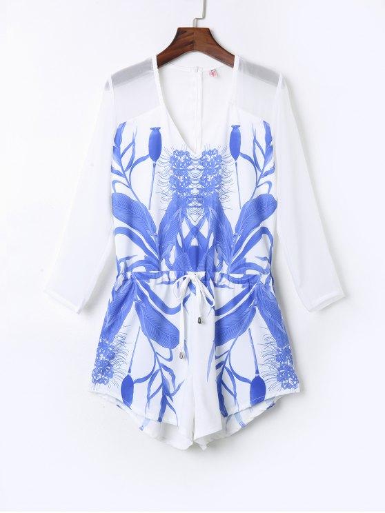 outfit Floral Print Drawstring Design Playsuit - WHITE L