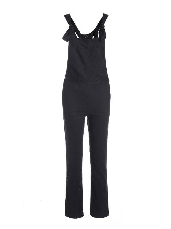 shop Solid Color Adjustable Straps Pockets Overalls - BLACK S