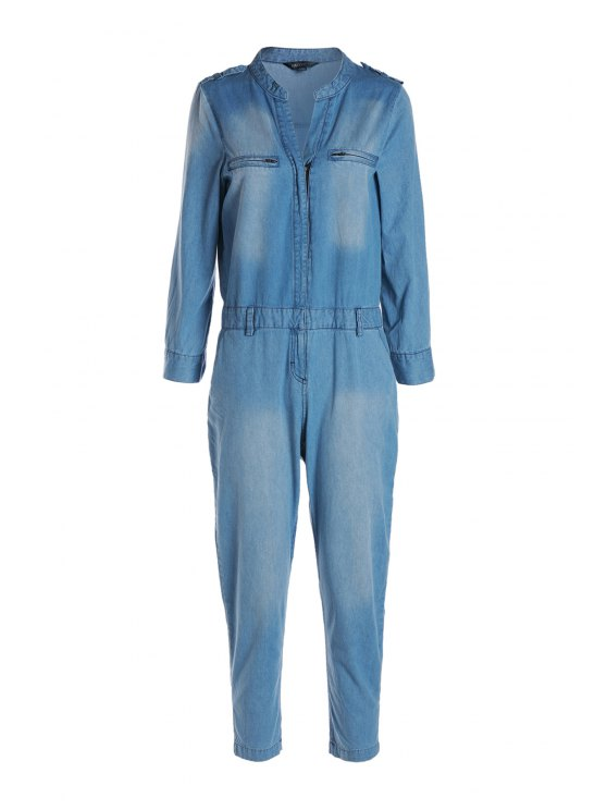 ladies Blue Denim V Neck Long Sleeve Jumpsuit - BLUE S