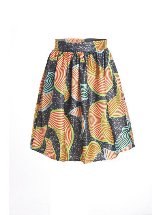 buy Print High Waist Flare Skirt - COLORMIX S