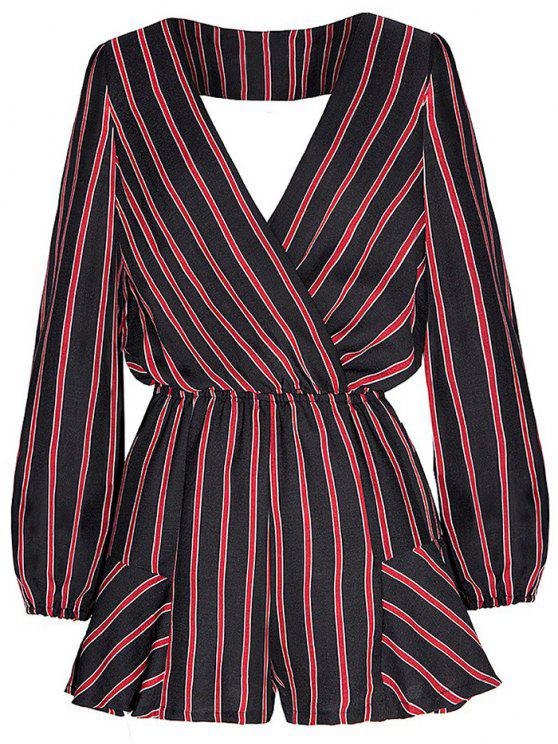 Striped Surplice Romper - Rouge et Noir 2XL
