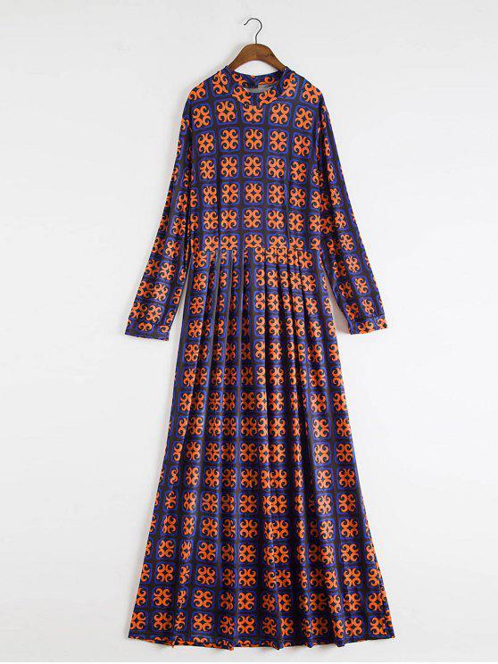 Mock Neck Fit et Flare Maxi Dress - Bleu XL