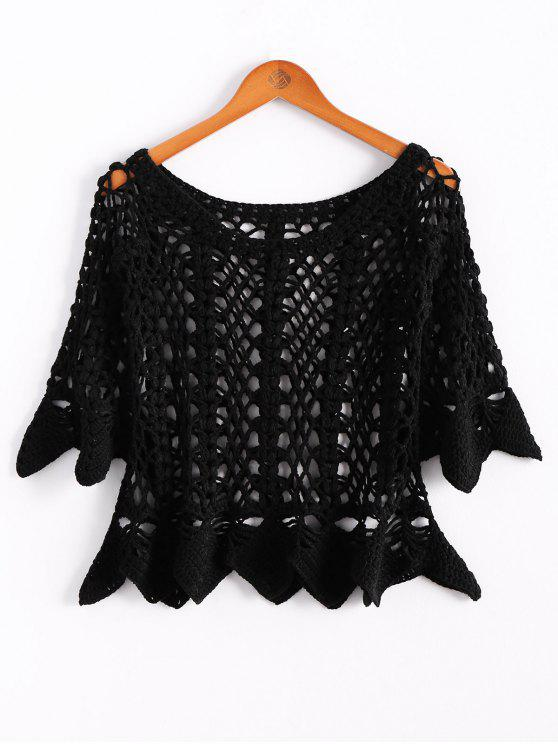 new Solid Color Cut Out Round Neck Butterfly Sleeve Sweater - BLACK ONE SIZE(FIT SIZE XS TO M)