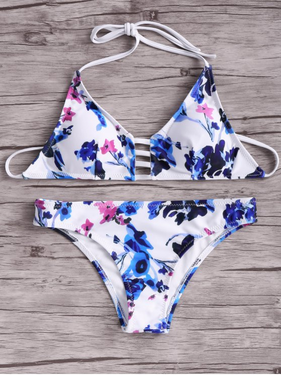 online Women Floral Halter Bikini Set - BLUE AND WHITE AND RED S