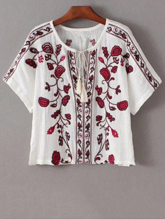 Camiseta bordada étnica - Blanco S