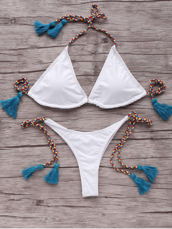 fancy Tassells Braided Strap Bikini Set - BLUE L