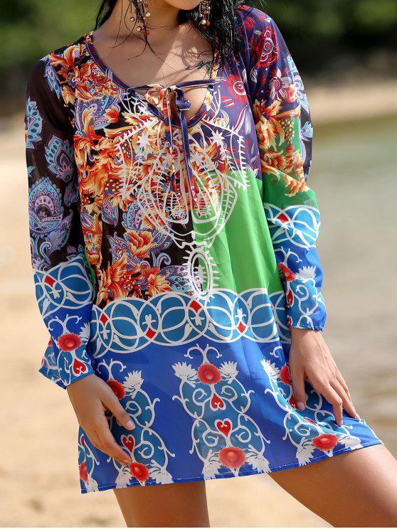 Profundo cuello en V vestido de gasa Impreso - Colormix XL