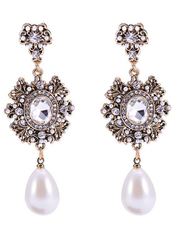 Outfit Baroque Faux Pearl Dangle Earrings Bronze Colored