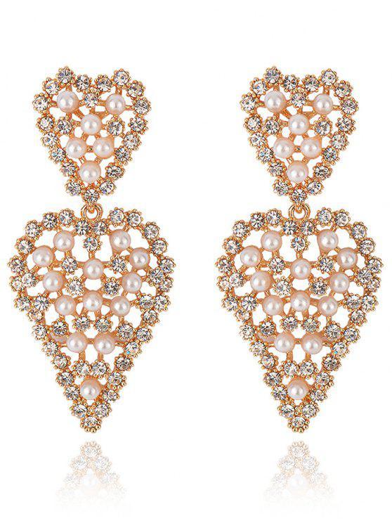 shop Sweetheart Rhinestone Dangle Earrings - GOLDEN