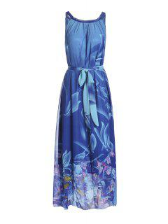 Bohemian Fleur Col Rond Imprimer Robe Sans Manches Pour Les Femmes - Bleu Profond Xl