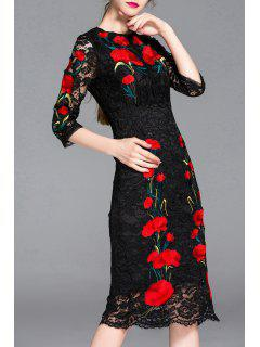 Flower Embroidered Lace Bodycon Dress - Black S