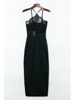Suspender Lace Splicing Sleeveless Backless Dress - Black