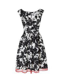 Boat Neck Leaf Print Chiffon Flare Dress - White And Black L