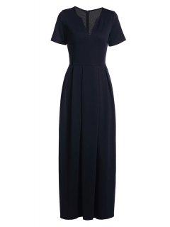 Short Sleeve Pure Color Maxi Dress - Deep Blue S