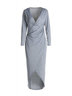 Plunging Neck Cross High Split Long Sleeve Dress - Light Gray L