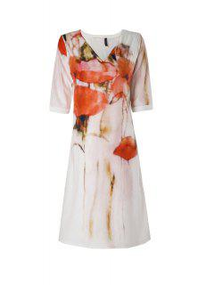 Floral Print Slit Half Sleeve Dress - White M