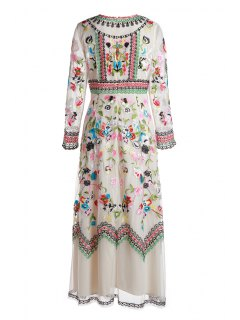 Floral Embrodery Evening Dress - Off-white Xl