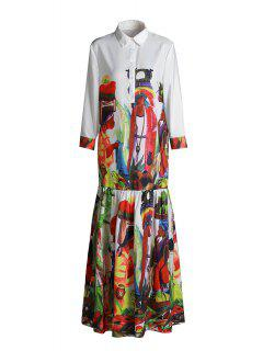 Ethnic Figure Print Long Sleeve Maxi Shirt Dress - Red Xl