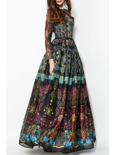Colorful Vintage Print Maxi Voile Dress - Black L