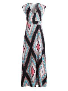 Square Collar Argyle Pattern Sleeveless Dress - Xl