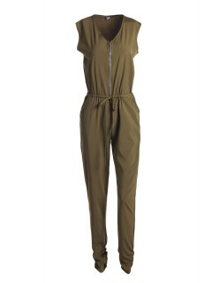 Sleeveless Loose Army Green Jumpsuit - Army Green S