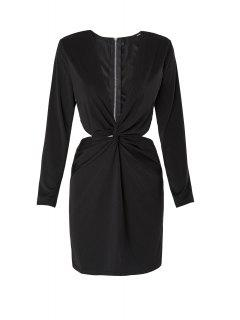 Long Sleeve Front Twist Cut Out Club Dress - Black M