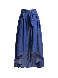 Falda Corta Alta De Corte Alto Bowknot - Azul L